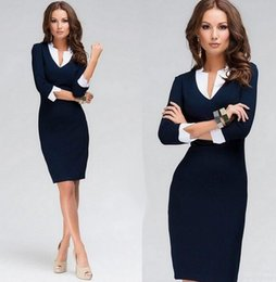 Wholesale Career Sheath Dress - Women's Elegant Work dress Business Office Career Party Pencil Bodycon Sheath Dress