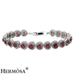 Wholesale Beautiful Emerald - Links Bracelet For Women Love Heart Sterling Silver Hermosa Jewelry Gemstone Emerald Topaz Ruby Garnet Beautiful Chain 7 Inch