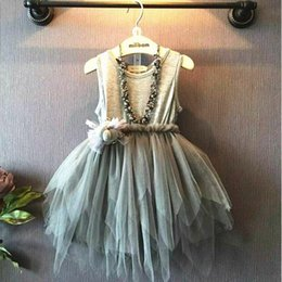Wholesale Cute Dress Korea Girl - New Arrival Cute Gray Cotton Tulle Girls Dresses 2017 Korea Princess Style Little Girls Casual Gowns Tutu Dresses MC0630 10pcs lot