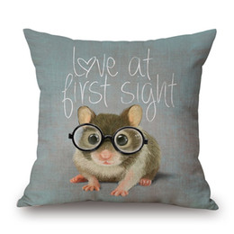 Wholesale Silver Cushions Covers - Little Mouse With Glasses Cushion Covers Cute Animals Hamster Rat Deer Koala Schnauzer Dog Cat Pillow Cover Linen Cotton Pillow Case