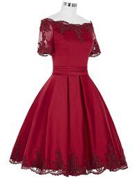 Wholesale Knee Length Corset Prom Dresses - Cheap Off Shoulder Knee Length Homecoming Dresses 2017 Short Sleeves Dark Red Satin Corset Prom Party Dress