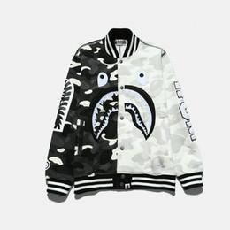 Wholesale Mens Japanese Jacket - Japanese brand Bapes cashmere sweater A Bathing A Ape stitching plus camouflage luminous Mens Palace Skateboard Baseball Jacket Coat