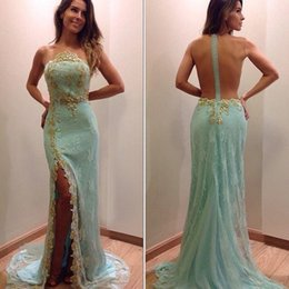 Wholesale Mint Mermaid Tulle Prom Dress - 2017 New Mint Green Mermaid Prom Dresses Sheer Neck Sleeveless Full Lace Split Evening Dresses With Gold Appliques Sexy Illusion Back