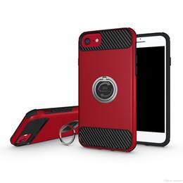 Soporte iphone rojo online-Para el caso rojo del soporte del anillo del iPhone 7 Cubierta universal para el iPhone 7 6 6s Plus Cubierta de texturas de fibra de carbono con soporte de anillo OPPBAG