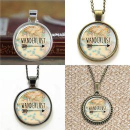 Wholesale Map Pendant Wholesaler - 10pcs Wanderlust Vintage Map Glass Photo Necklace keyring bookmark cufflink earring bracelet