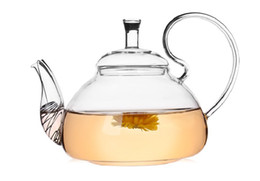 Wholesale Heat Resistant Glass Pot - 1PC 600ml Heat Resistant With High Handle Flower Coffee Glass Tea Pot Blooming Chinese Glass Teapots J1011-2