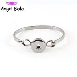 Wholesale Indian Free Channels - angel bola Ginger Snap Bracelet Jewelry Fit 18mm Button 3 Plating Colors Women Trendy Snap Charms Buttons Bangles AB-047 Free Shipping