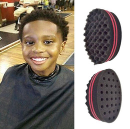 Wholesale Wholesale Hairstyles Tool - Sponge Hair Brushes Barber Create Hairstyles For Short Hair Curl Wave Ellipse Magic Tool Both Sides Sponge for Blacks Hair Styling Tool