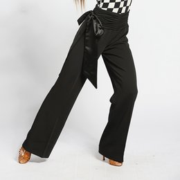 Wholesale Silk Trousers Women - 2017 Ballroom Dance Pants Black Color Sexy Women Milk Silk Fabric Fitness Trousers For Women DQ2096