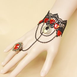 Wholesale Stainless Locking Collars - Gothic Punk Red Stone Bracelet With Ring Heart Lock Velvet Leather Bracelet Hand Collar with Key Jewelry for Women Accessories