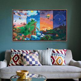 Wholesale Rainbow Spray Paint - Fantasy Watercolor Rainbow Seascape Dream Day A4 Large Art Prints Poster Rural Wall Picture Canvas Painting No Framed Home Decor