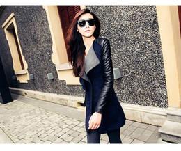 Wholesale Womens Long Black Leather Coats - Wholesale-womens jacket Spring Autumn Fashion 2017 jacket for womans Woolen coat Genuine leather PU stitching long sleeve jacket big size