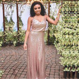 Wholesale Blue Sequin Mini Dress - Sparkly Rose Gold Sequined A Line Bridesmaid Dresses V Neck Boho Spaghetti Strap Floor Length Garden Wedding Party Dress 2017 Plus Size