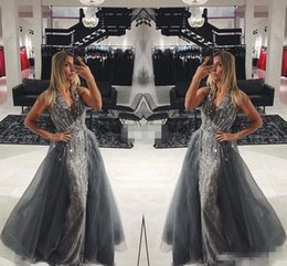 Wholesale Long Red Dres - Elegant Gray Lace Long Evening Dresses with Detachable Train Tulle Sleeveless V-Neck Crystals 2017 Long Prom Gowns Pageant Miss Beauty Dres