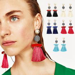 Wholesale Red Beaded Earrings - Grace Simple Colors Earrings Pearl Beaded Black And White Zebra Beads Tassel Earrings Drop Women Earrings