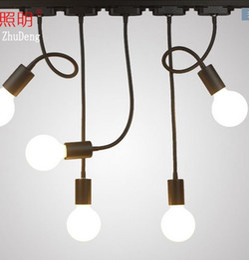 2019 lâmpadas rústicas por atacado Levou chifre pista de luz longo pólo longo braço luz loja de roupas guia de trilho de luz de fundo fixado na parede lâmpada do teto