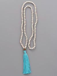 Wholesale Celtic Knot Beads - beaded tassel Boho Tassel 6MM Stone Knotted Nepal Charm Bead Tassels for Women Long Yoga Necklace Dropshipping