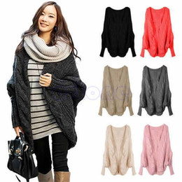 Wholesale Womens Oversized Sweaters - Wholesale-Womens Oversized Knitted Cardigan Batwing Outwear Casual Loose Sweater Coat Tops