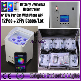 Casi di telefonini mosca online-Custodie 12pcs + 2 fly + 5motherboards / lotto Freedom Par Hex-6 6 * 18w RGBWA + UV DMX Wireless alimentato a batteria con APP WiFi Phone
