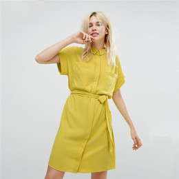 Wholesale Dress Shirts Neck Ties - Small Round Collar Fashion Casual Preppy Chic Dresses 2017 Girdling Waist Tie-wrap Solid Color Shirt Girl Dress Size S M L XL XXL