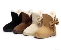 Wholesale Shoe Inside - HEE GRAND 2016 Winter Snow Boots Bowtie Women Boot Flock Warm Inside Platform Flat Ankle Boots Casual Flats Shoes Woman size 35-41