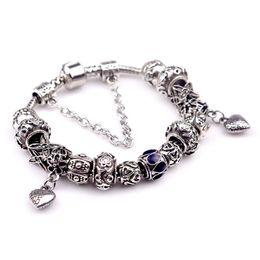 Wholesale Hj Diy - DIY hot sell women ladies beaded chians bracelets strands big holes New Arrival charm bangle silver bracelet-HJ-1622011