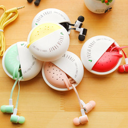 Wholesale Pink Kids Microphone - Cute Fruit Candy Colorful Earphones 3.5mm in-ear with Microphone for Phone Girls Kids Child Student for MP3 Gifts