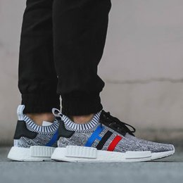 Wholesale Running Tri - High quality NMD Runner R1 Primeknit PK Tri-Color Red white blue Men Women Running Shoes Classic sports Shoes Sneakers size 36-45