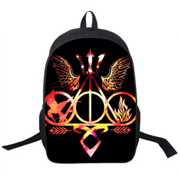 Wholesale Blood Red Color - Wholesale- Percy Jackson Camp Half Blood   Hunger Games   Divergent Backpack For Teenagers Men Women Daily Backpacks Children School Bags