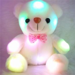 Deutschland Großhandel-Bunte LED-Blitzlicht Bär Puppe Plüsch Stofftiere Größe 20-22 cm Bär Geschenk für Kinder Weihnachtsgeschenk Gefüllte Plüsch Versorgung