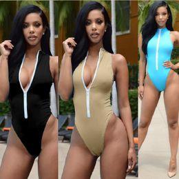 Wholesale Bikini Size Girls - Maillot De Bain Une Piece Push Up High Neck Swim Front Zipper Swimsuit Thong Monokini Swimsuits Sexy Plus Size Girls Bikinis