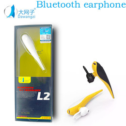 Wholesale Iphone Headphones Handsfree - L2 Bluetooth Headset Wireless V4.0 Business Stereo Headphone Earphones With Mic Ear-hook Handsfree for iPhone 7 Smart Phones with Retail Box
