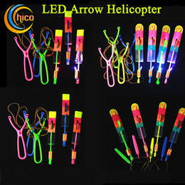 Wholesale Umbrella Lights Up - light up flying toy LED Arrow Helicopter LED Arrow Flying Helicopter Umbrella parachute Toys Christmas Halloween Flash Toys light up toys