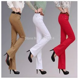 Wholesale Ladies Colored Pants - Wholesale- Retail OL lady Full-length Korean style Flare Pants Women Middle Waist regular Cotton Softener Skinny pants gift for female