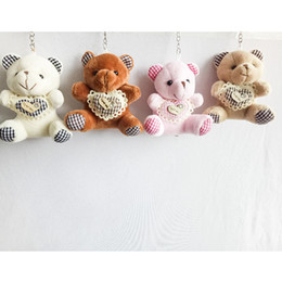 Wholesale Hearts Plush Toy - 9cm Teddy Bear with Plaid Heart Cartoon Stuffed Toy Plush Toy Pendant Bag Keychain Car Key Holder for Bag Wedding Christmas Gift
