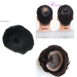 Wholesale Hair Pieces For Men - 100% Indian Hair Piece 8x10 Inch Men Toupee Mono Base With NPU Around Perimeter Toupee for Men