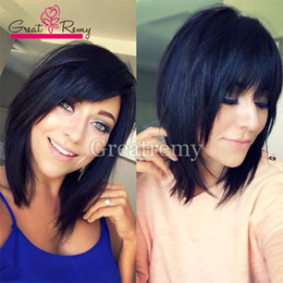 Wholesale Remy Bob Wig - Human Hair Lace Front Wigs Full Lace Human Hair Wigs Short Bob Silky Straight Brazilian Virgin Hair Front Lace Wig Great Remy 130%150%180%