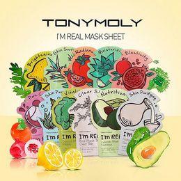 Wholesale Wholesale Facial Masks - Tonymoly I'm REAL Facial Mask Sheet Korea Face Care Moisturizing Skin Care Aloe Vera Powder Face Mask DHL Free Shipping