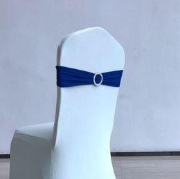 Wholesale Diamond Buckle Chair Sashes - Fancy Wedding Party Birthday Decoration Spandex Lycra Wedding Chair Cover Sashes Bands bow with Diamond Buckle