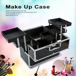 Инструменты черного ящика онлайн-Wholesale- 3-Layer Large Make Up Case Cosmetic Organizer Box Professional Containing Storage Case Make Up Tools Accessory Black #WFA-1232