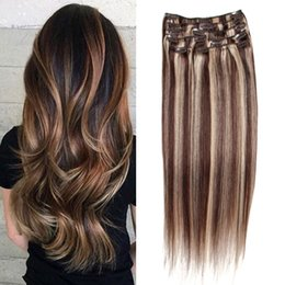 Wholesale Highlighted Remy Hair - 7A Grade Straight Highlight Brazilian Remy Human Hair Extensions Cheap Highlight Clip In Human Hair Extensions 8 pcs set high quality Hair
