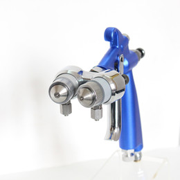 Wholesale Painting Spray Guns - free shipping air gun chrome 1.3-1.4mm two double nozzle cheap high quality mini spray chrome plating