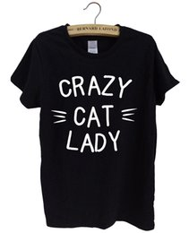 Wholesale Cat Lady T Shirt - Wholesale- CRAZY CAT LADY Printed female T-shirt 2016 summer cotton tshirt Harajuku unicorn brand tops tee kawaii punk women t shirt sexy