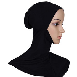 Wholesale hijab inner - Wholesale-2016 Hijab Headwear Full Cover Underscarf Ninja Inner Neck Chest Plain Hat Cap Scarf Bonnet