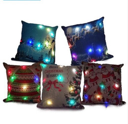 Wholesale Light Up Pillows - Christmas LED Light Linen Pillow Case Santa Claus Deer Light Up Pillowcase 45*45cm Cushion Covers Car Sofa Home Christmas Decoration KKA3042