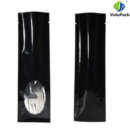 Wholesale Fabric Windows - 6x20cm(2.25x7.75in) 100X Glossy Black Metallic Mylar Tear Notch Aluminum Foil Plastic Display Open Top Bags w Clear window