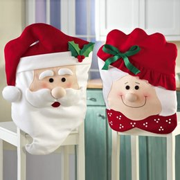 Wholesale Room Chair Covers - Mr &Mrs Santa Chair Covers Santa Claus Natal Navidad Christmas Decorations For Home Christmas Dining Room Chair Cover Home Decor