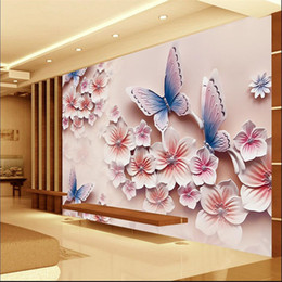 Wholesale Modern Romantic Paintings - Wholesale-3D photo wallpaper Relief murals TV backdrop romantic butterfly orchid flowers 3D large wall mural wallpaper Modern painting