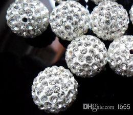14mm weißes kristallarmband Rabatt 14mm 50pcs / lot weiße heiße Mikro pflastern Disco-Kugel Kristall Shamballa Beads.jewerly, das Korn Lot! Bestes Armbandarmband DIY a62 herstellt