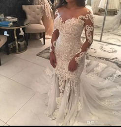 Wholesale Simple Long Sweetheart Neckline Dress - 2018 Mermaid Lace Wedding Dresses With Sheer Neckline Appliques Illusion Long Sleeves Wedding Dress See Through Tulle Long Train Bridal Gown